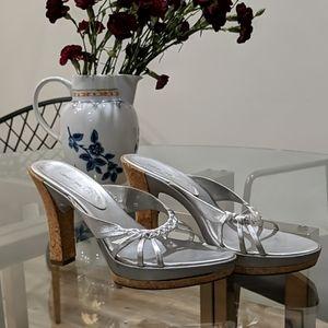 Nine West Silver Braid Cork Heel Sandals 7